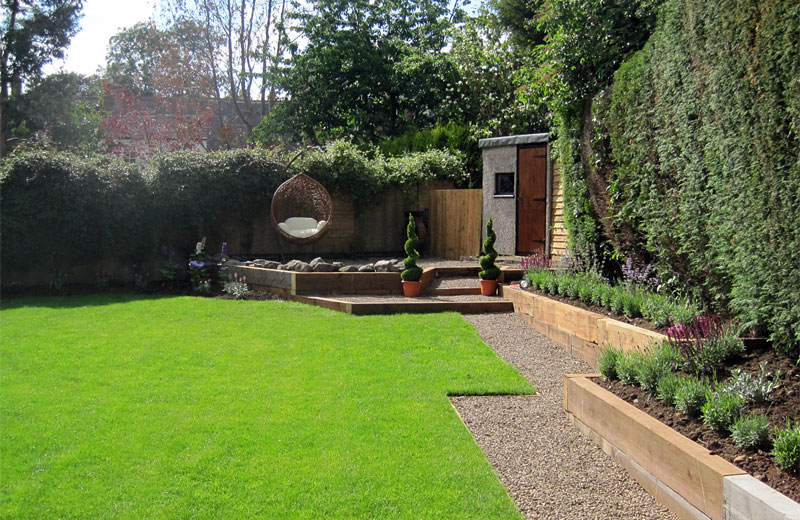 Ideal gardens burbage hinckley garden design and for Garden designs using sleepers